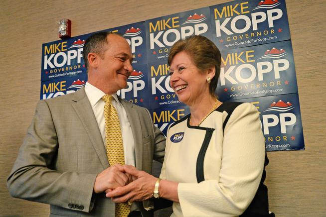 DENVER, CO - JUNE 06: Mike Kopp, Colorado GOP gubernatorial candidate, selected Vera Ortegon, former City of Pueblo Council Member, as his running mate, June 5, 2014. Kopp made the announcement during a press conference in Denver. (Photo by RJ Sangosti/The Denver Post)